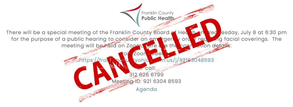 Cancelled stamp in red over meeting information